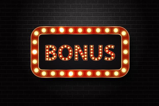 Realistisch geïsoleerd neonteken van bonus-logo voor decoratie en bekleding.