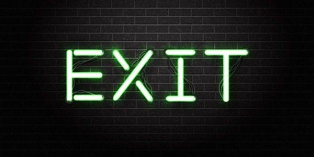 Realistisch geïsoleerd neonteken van exit-logo voor sjabloon.