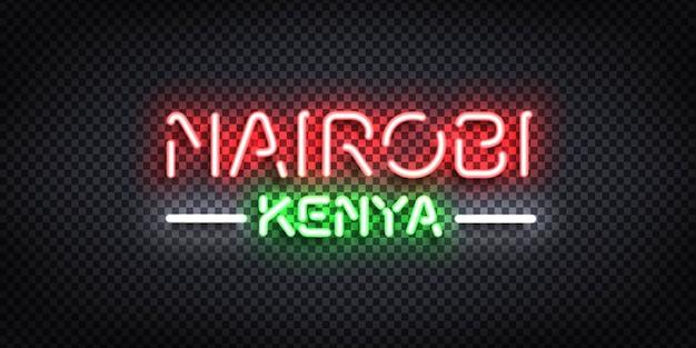 Realistisch geïsoleerd neonteken van nairobi, kenia.
