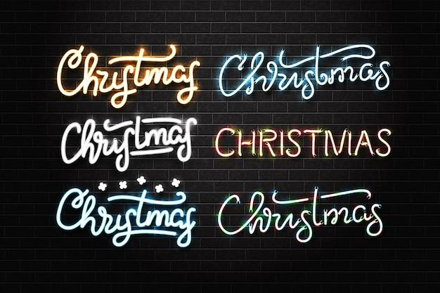 Realistisch geïsoleerd neonteken van vrolijke kerstmis voor uitnodigingsdecoratie