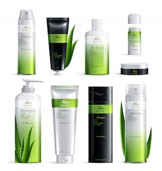 Realistisch gekleurd organisch cosmetica ingrediëntenontwerp. geïsoleerde cosmetica buizen instellen