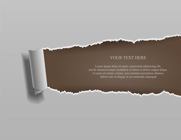 Realistisch gescheurd papier met opgerolde randen op bruin