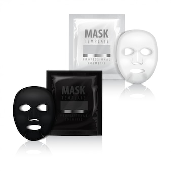 Realistisch gezichtsvelmasker en zakje.