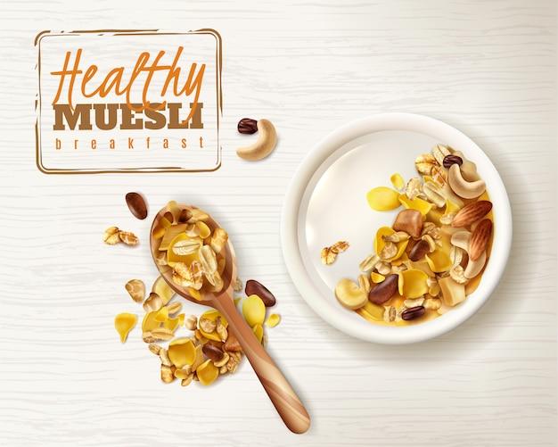 Realistisch gezond ontbijt van kommuesli superfood met heerlijke bewerkbare de tekstplaat en lepelafbeeldingen van granolagraangewassen