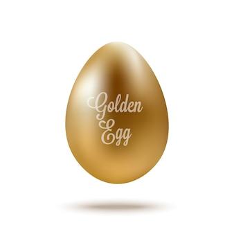 Realistisch gouden ei met tekst. vector illustratie