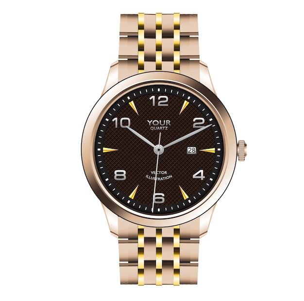 Realistisch gouden horlogeklok donkerbruin gezichtsontwerp voor mannenmode op witte achtergrond