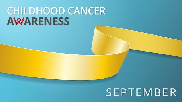 Realistisch gouden lint. bewustzijn kinderkanker maand poster. vector illustratie. wereld pediatrische kanker dag solidariteit concept. blauwgroen achtergrond.