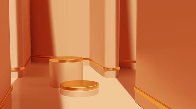 Realistisch gouden luxe podium voor productpresentatie. indoor, interieur professionele productplaatsing voetstuk