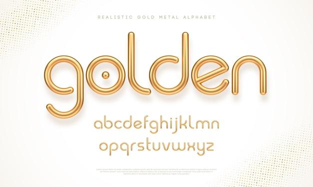 Realistisch gouden metalen lettertype modern minimaal lettertype metallic 3d-lettertype