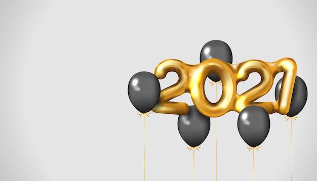 Realistisch gouden nummer gelukkig nieuwjaar met zwarte ballonnen Premium Vector