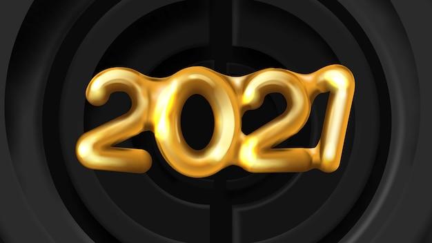Realistisch gouden nummer gelukkig nieuwjaar op zwarte cirkels