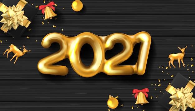 Realistisch gouden nummer gelukkig nieuwjaar op zwarte houtstructuur