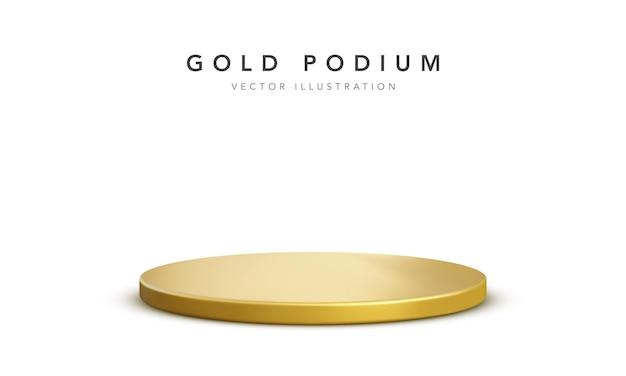 Realistisch gouden podiumpodium dat op wit wordt geïsoleerd