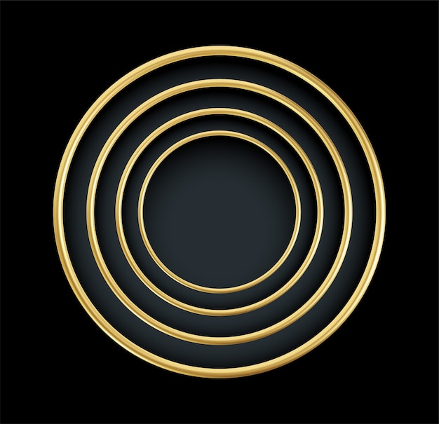 Realistisch gouden rond frame dat op zwarte achtergrond wordt geïsoleerd. luxe gouden decoratief element.