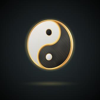 Realistisch gouden yin yang-symbool dat op donkere achtergrond wordt geïsoleerd