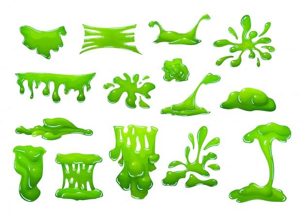 Realistisch groen slijm in de vorm van druipende klodders, vlekken