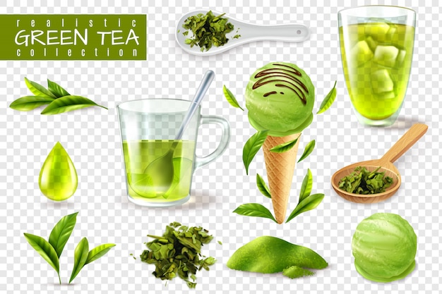 Realistisch groen theestel met geïsoleerde beelden van koppen lepels en natuurlijke bladeren vectorillustratie