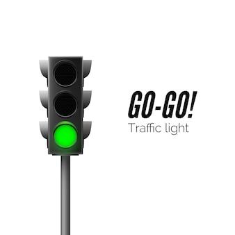 Realistisch groen verkeerslicht. verkeersregels. go - bedrijfsconcept. geïsoleerde vectorillustratie