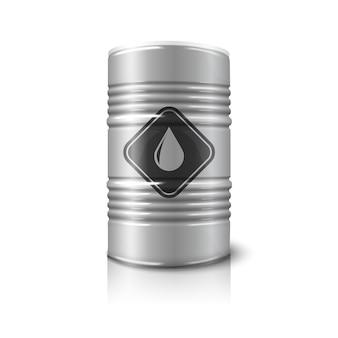Realistisch groot olievat met olieteken, dat op witte achtergrond met bezinning wordt geïsoleerd.