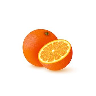 Realistisch half gesneden en geheel oranje.