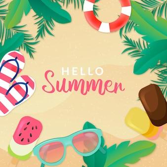 Realistisch hallo zomerconcept