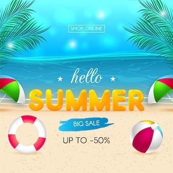 Realistisch hallo zomerverkoopontwerp