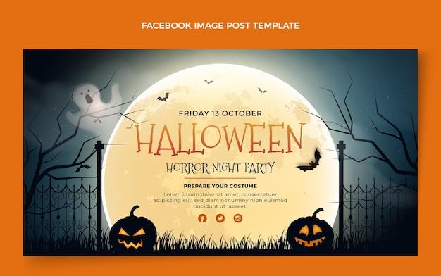 Realistisch halloween-postsjabloon voor sociale media
