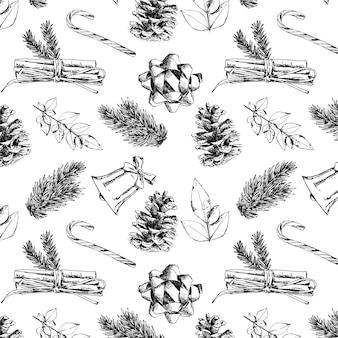 Realistisch hand getrokken kerstpatroon