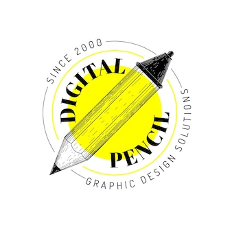 Realistisch handgetekend grafisch ontwerperlogo