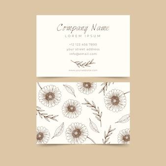 Realistisch handgetekende bloemen visitekaartje concept