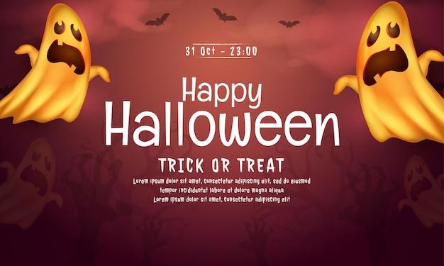 Realistisch happy halloween-bannerconcept 01