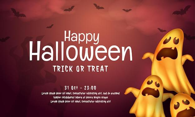 Realistisch happy halloween-bannerconcept