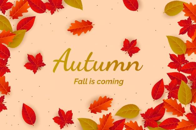 Realistisch herfstbladeren behang
