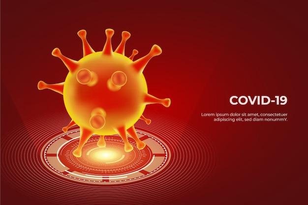 Realistisch hologram van coronavirusbehang