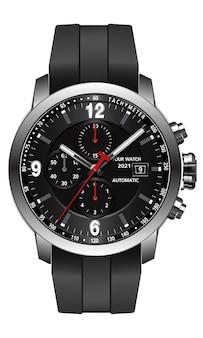 Realistisch horloge chronograaf roestvrij staal zwart rubber met de klok mee rood wit mode voor mannen