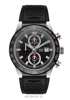 Realistisch horloge chronograaf roestvrij staal zwart rubber.