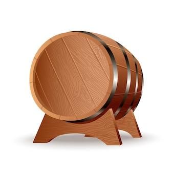 Realistisch houten vat. geïsoleerd eiken vat met houten lichaam met ijzeren ringen op de standaard. vector realistisch vat voor whisky, rum, cognac, wijn, bier, kwas of andere dranken.