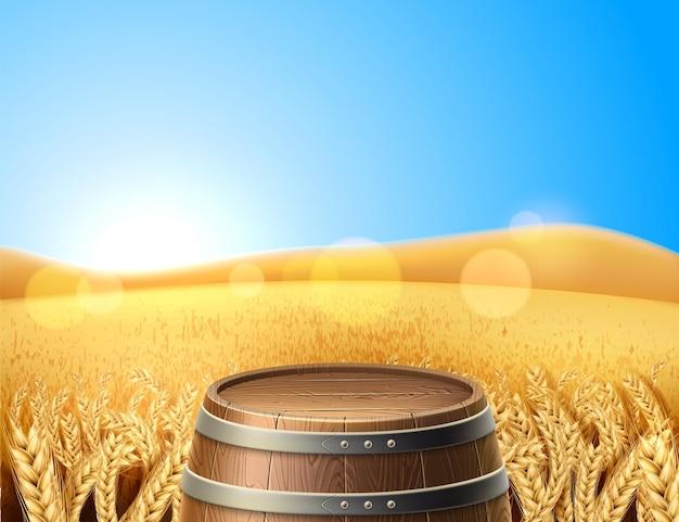 Realistisch houten vat, vaatje op achtergrond van tarwe