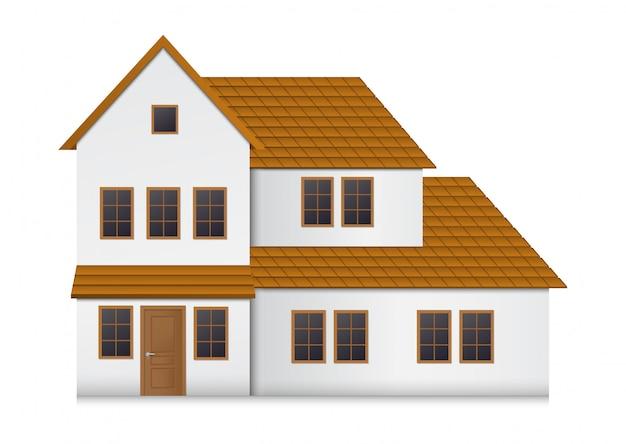 Realistisch huis vooraanzicht.