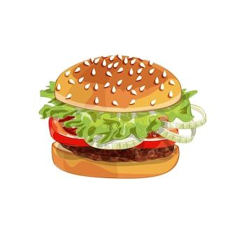Realistisch illustratiepatroon van hamburger, heerlijke hamburger met ingrediëntensla, ui, pasteitje, tomaat, kaas, broodje dat op witte achtergrond wordt geïsoleerd