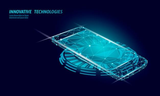 Realistisch inductief oplaadstation. draadloze draadloze wisselstroomcentrale voor smartphones. moderne innovatieve technologie telefoon apparaat magnetische elektrische lading energie batterijlader illustratie.