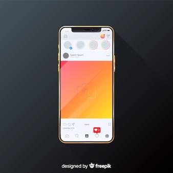 Realistisch instagram fotokader op iphone-sjabloon