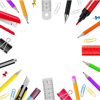 Realistisch kader met diverse kantoorbehoeftenvoorwerpen op witte vectorillustratie als achtergrond