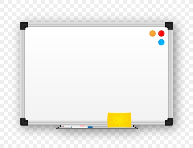 Realistisch kantoor whiteboard. leeg whiteboard met markeerstiften. vector voorraad illustratie.
