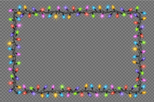 Realistisch kerstlichtframe