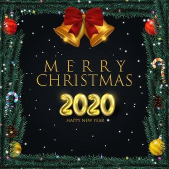 Realistisch kerstmisframe met elementen