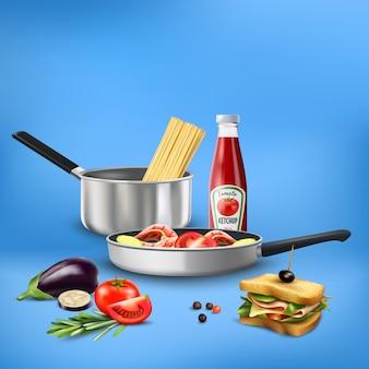 Realistisch keukengereedschap met de samenstelling van de groentenvissen van voedingsmiddelendeegwaren op blauw