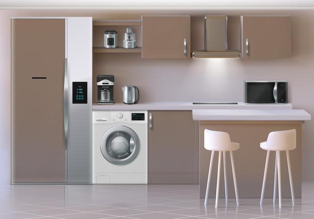 Realistisch keukeninterieur. elektronische huishoudelijke apparaten gebruiksvoorwerpen en meubels, koelkast oven planken en tafel. vectorillustraties 3d keukenmodel met magnetron, waterkoker, koffiezetapparaat