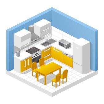 Realistisch keukeninterieur. isometrische weergave van kamer, eettafel, stoelen, kasten, fornuis, koelkast, kooktoestellen en woondecoratie. modern meubilair, appartement of huisconcept