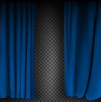 Realistisch kleurrijk blauw fluwelen gordijn gevouwen op een transparante achtergrond. optiegordijn thuis in de bioscoop. vector illustratie